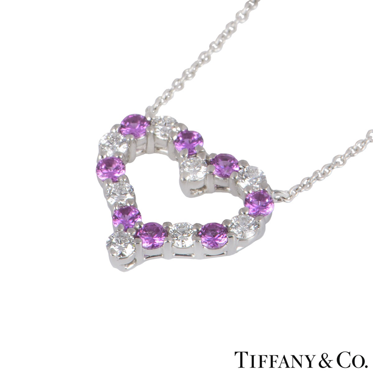Tiffany & Co. Platinum Diamond & Sapphire Hearts Pendant